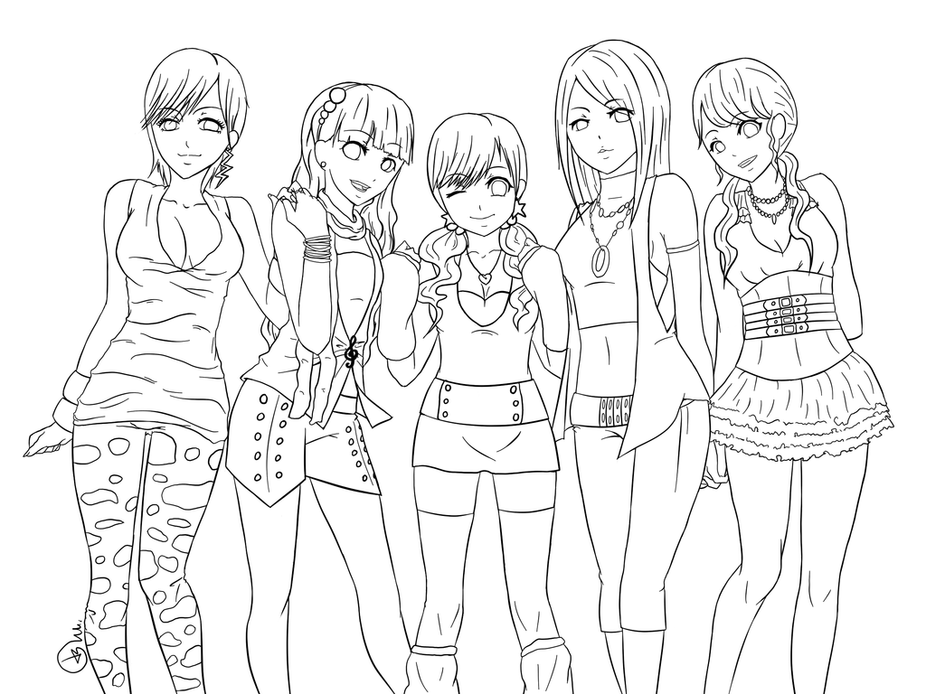 1024x768 Anime Girls Coloring Pages