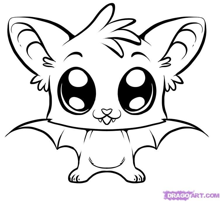 757x692 Cute Coloring Pages How Draw A Cute Bat Step Recipes