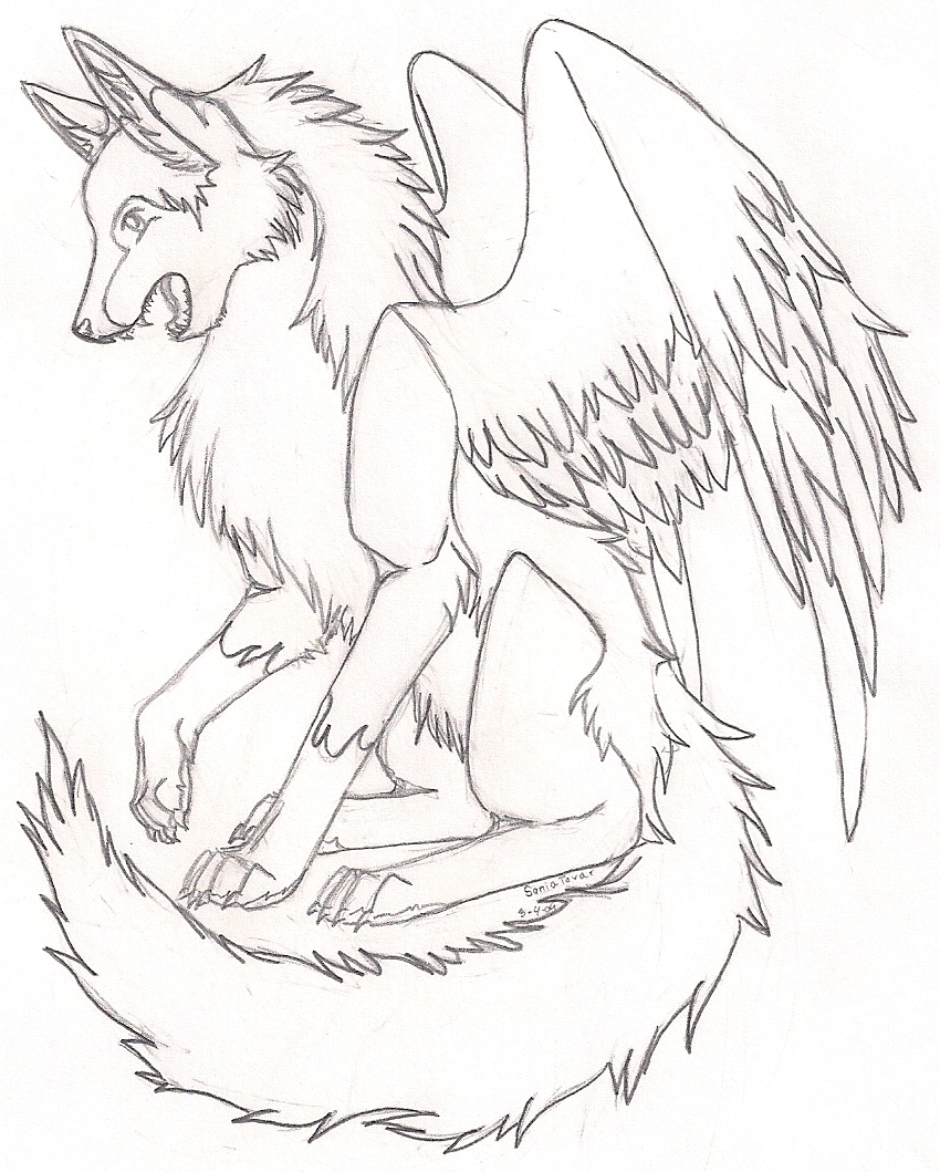850x1059 Anime Winged Wolves Coloring Pages