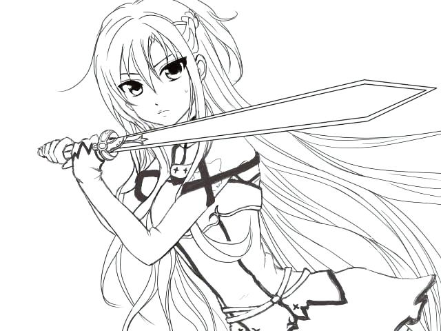 640x480 Cool Anime Coloring Pages Sword Art Coloring Pages Sketch Coloring