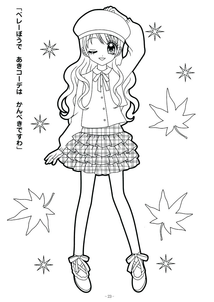 736x1040 Anime Girl Coloring Pages Cute Anime Girl Printable Coloring Pages