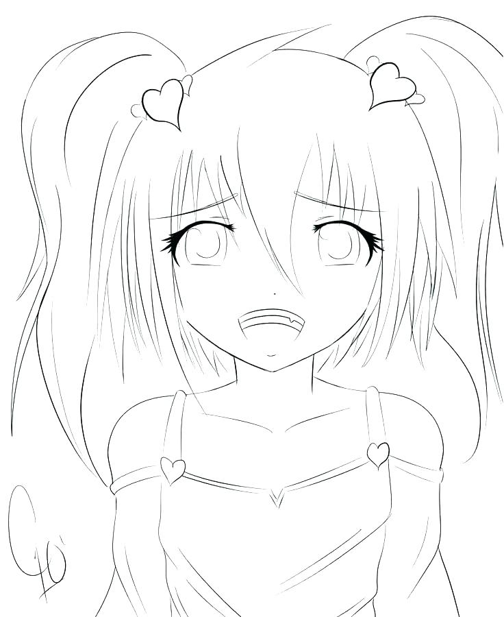 736x900 Anime Girls Coloring Pages Cute To Print Sheets