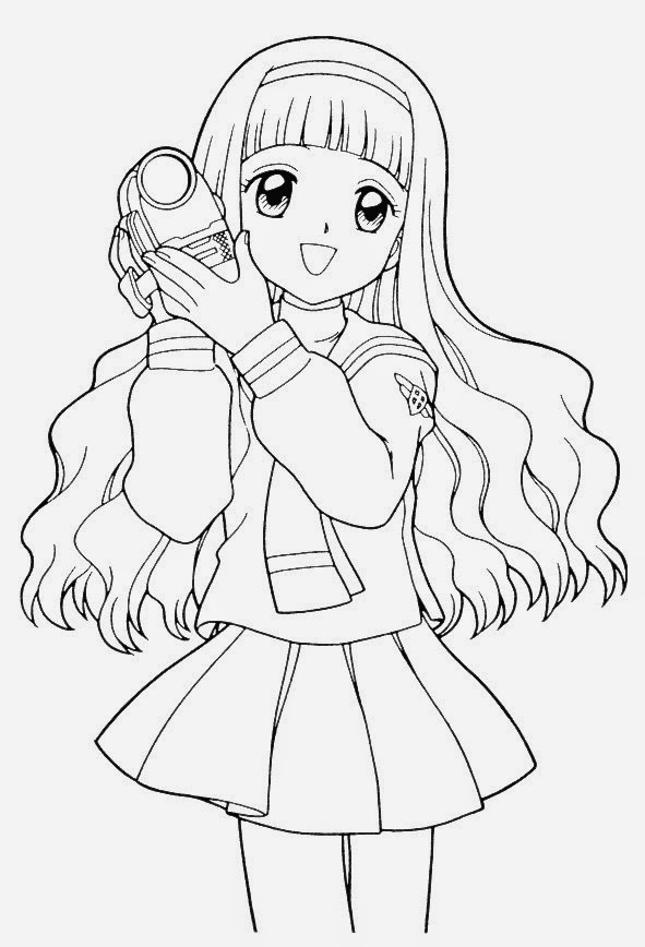 591x868 Anime Girl Coloring Pages Holding Camera