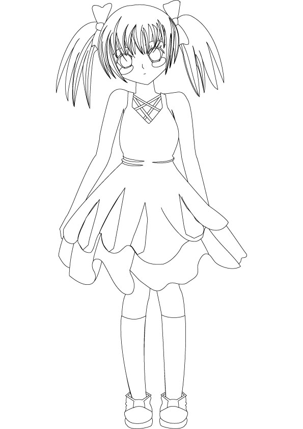 595x842 Anime Coloring Pages Anime Girl Coloring Pages To Print Kids