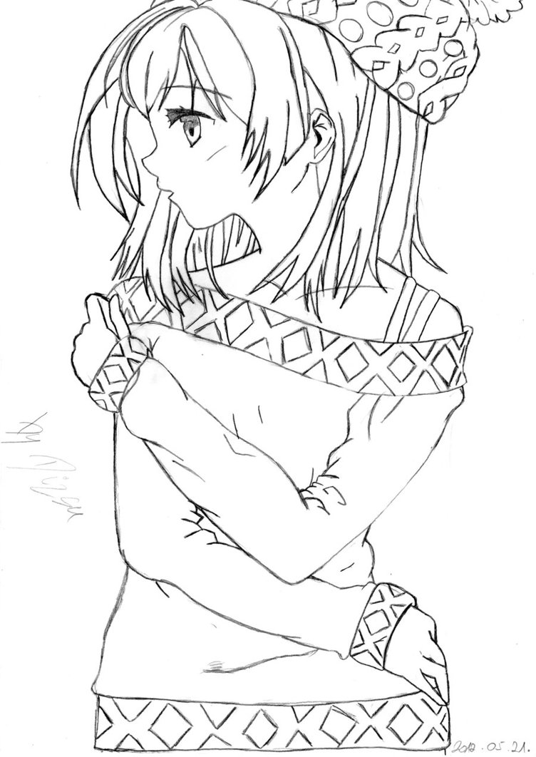 752x1062 Brilliant Decoration Anime Coloring Pages Anime Girl Coloring Page