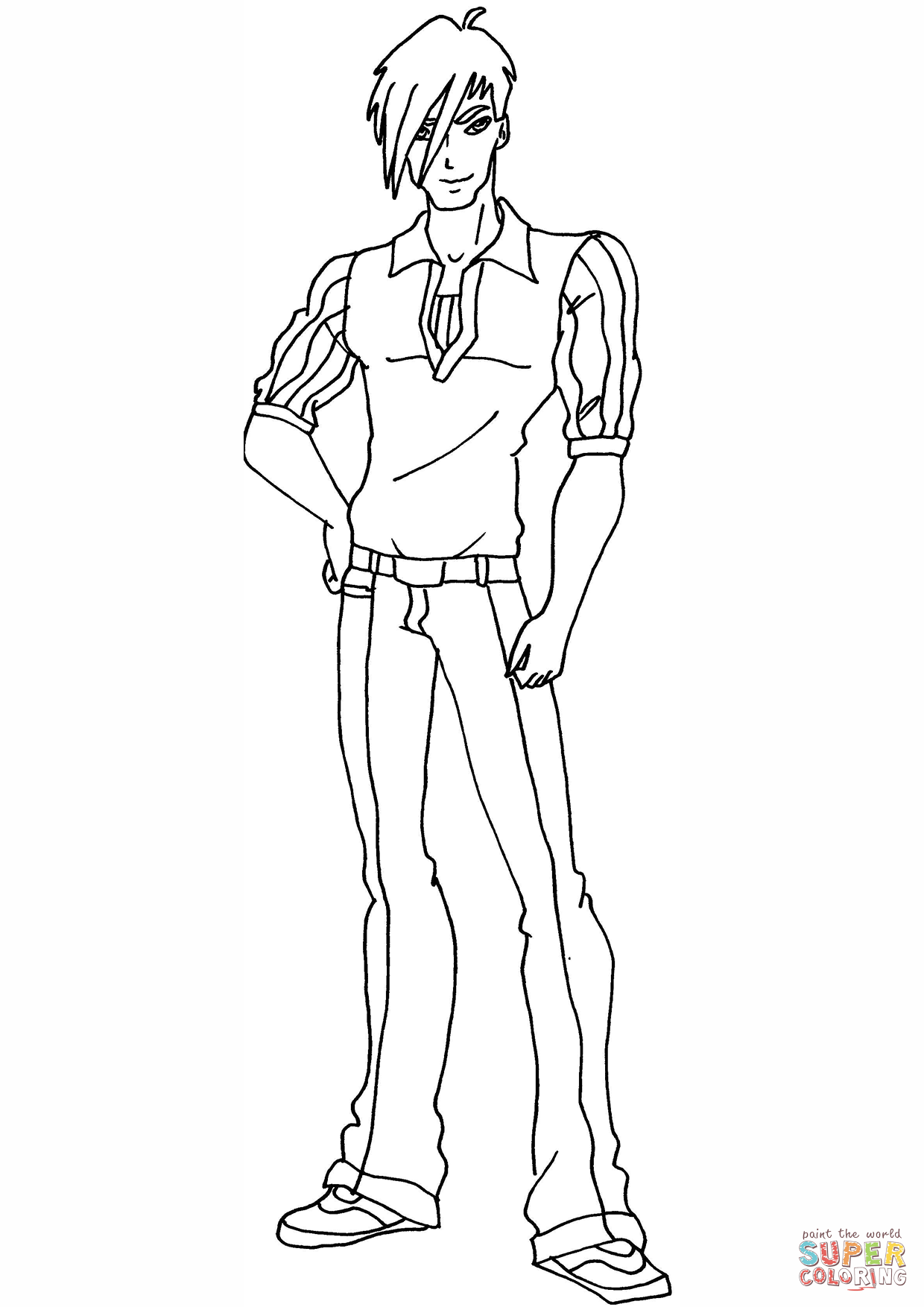 1240x1754 Fresh Anime Guy Coloring Pages