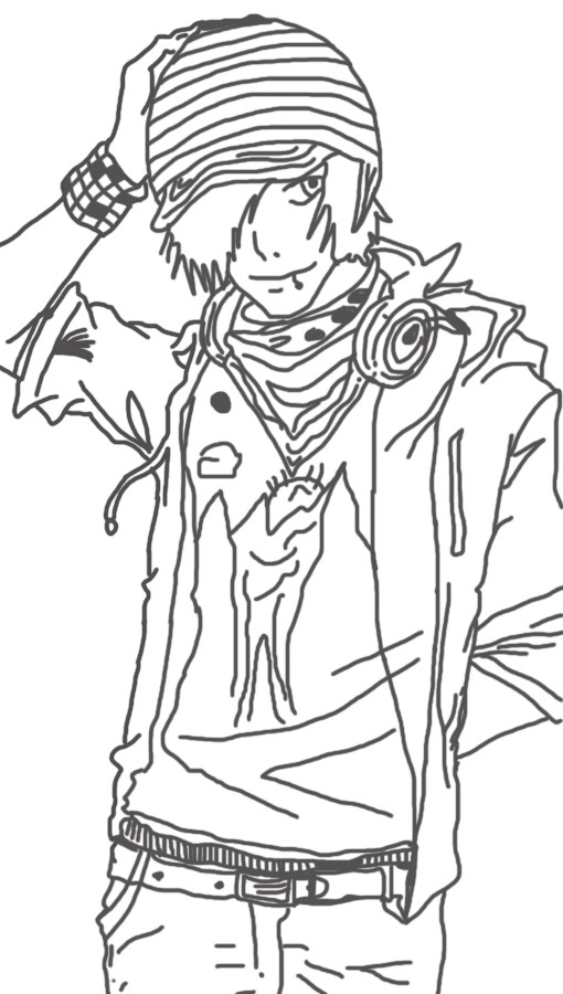 510x900 Sketch Anime Glasses Guy Coloring Pages, Anime Guy Coloring Pages