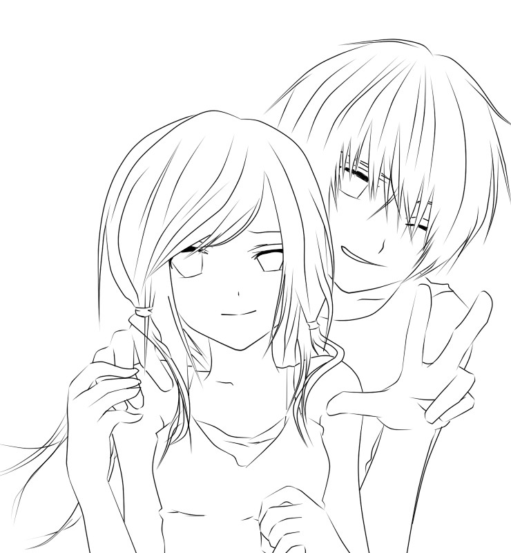 740x800 Interesting Anime Couple Coloring Pages Cute Couples Kissing