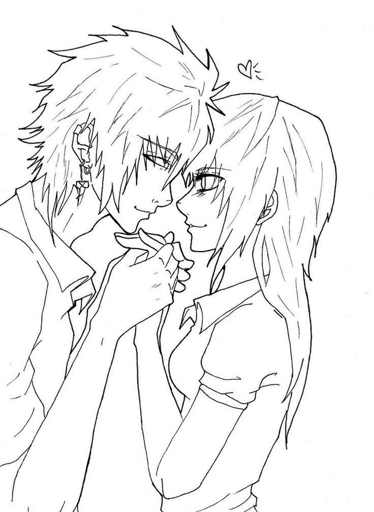 736x1007 Anime Couples Coloring Pages