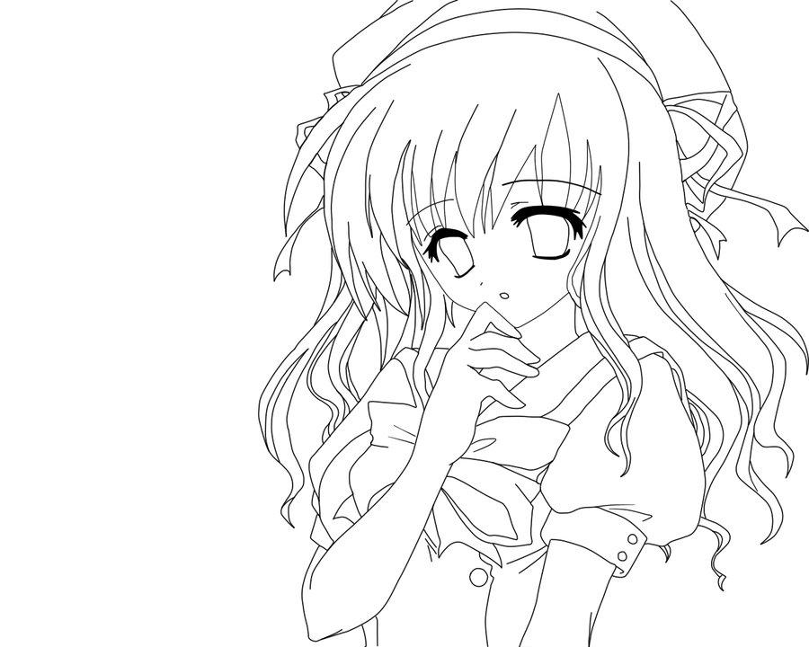 900x720 Anime Girl Lineart Color Me