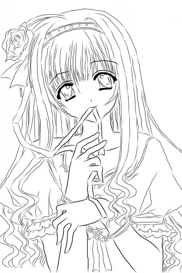 640x960 Anime Girl Coloring Nice Stunning Coloring Pages Cute Images