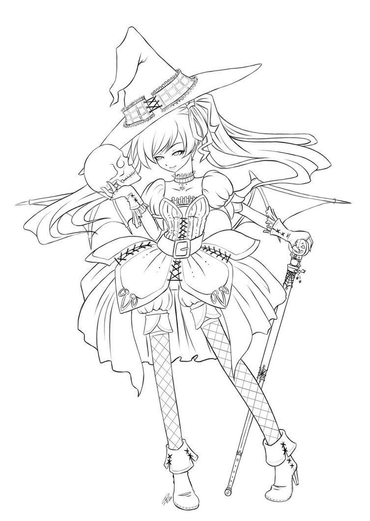 753x1060 Halloween Queen Lineart