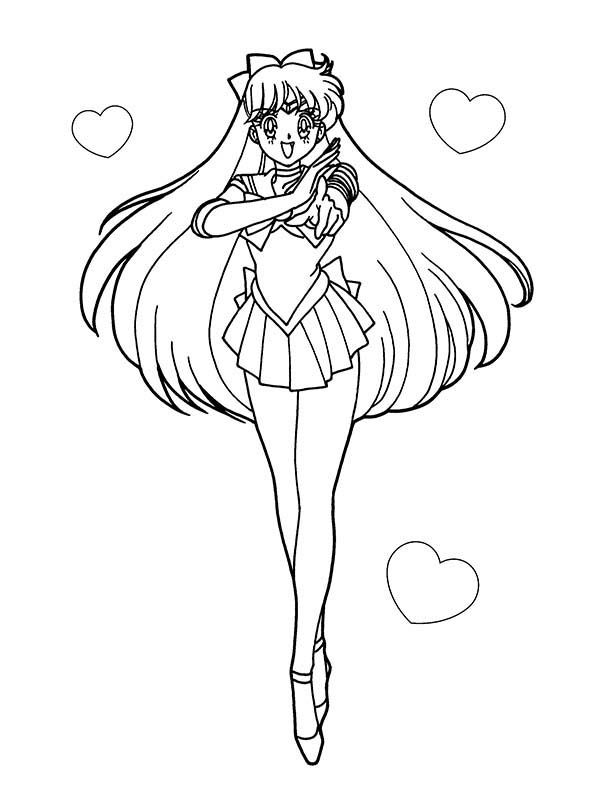 600x809 Sailor Moon Anime Soldier Of Love And Justice Coloring Page