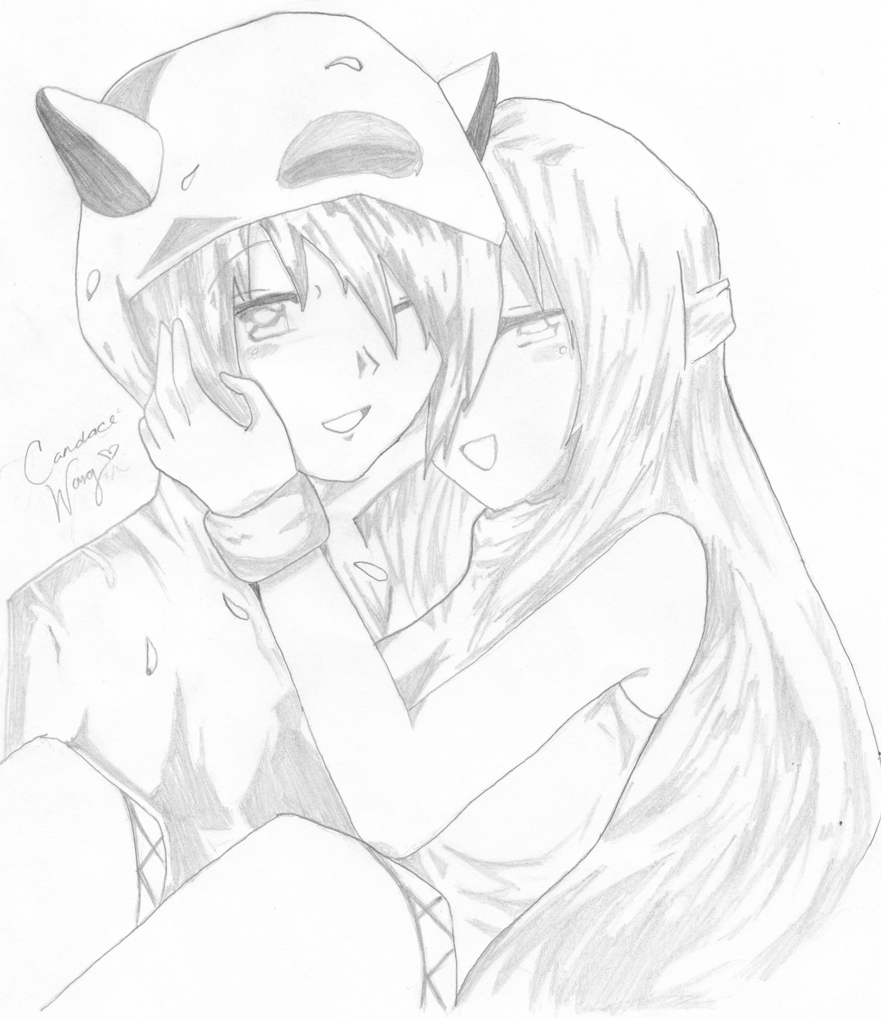 1739x2012 Anime Couple Hugging