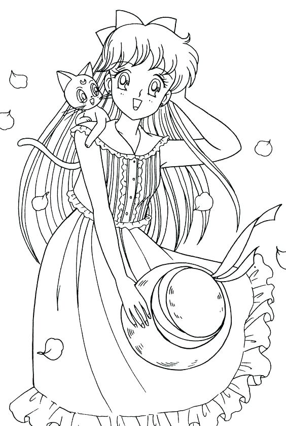 564x838 Bleach Coloring Pages Manga Coloring Pages Girl With Cat Coloring