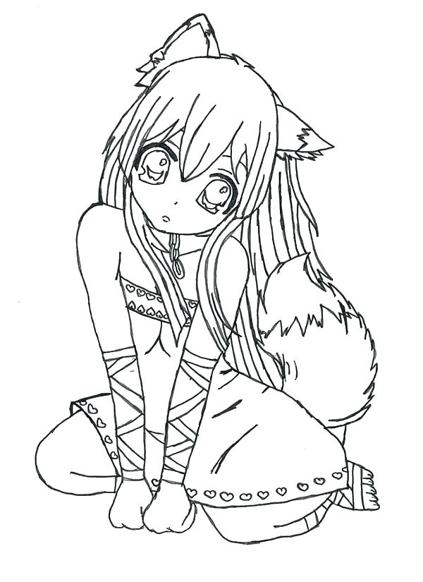600x825 Anime Girl Coloring Pages Coloring Anime Pages And Fox Girl