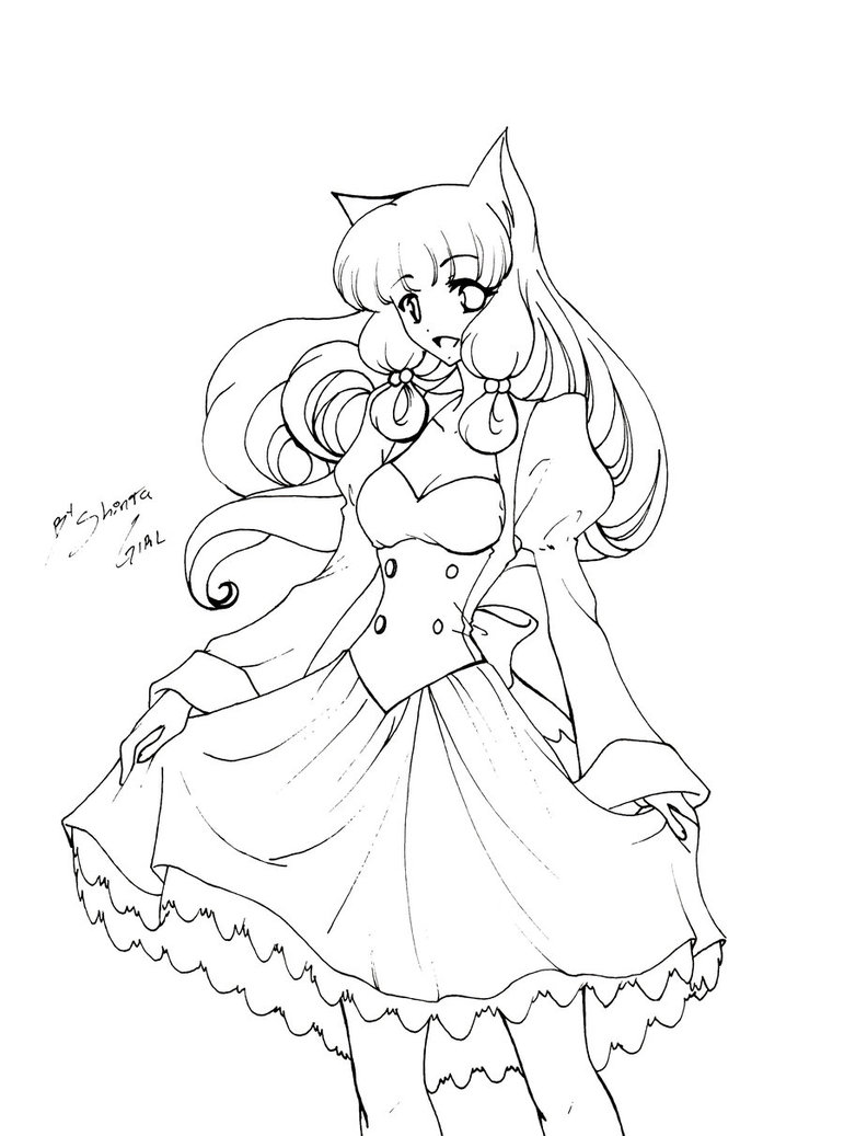 771x1037 Anime Girl Neko Coloring Pages
