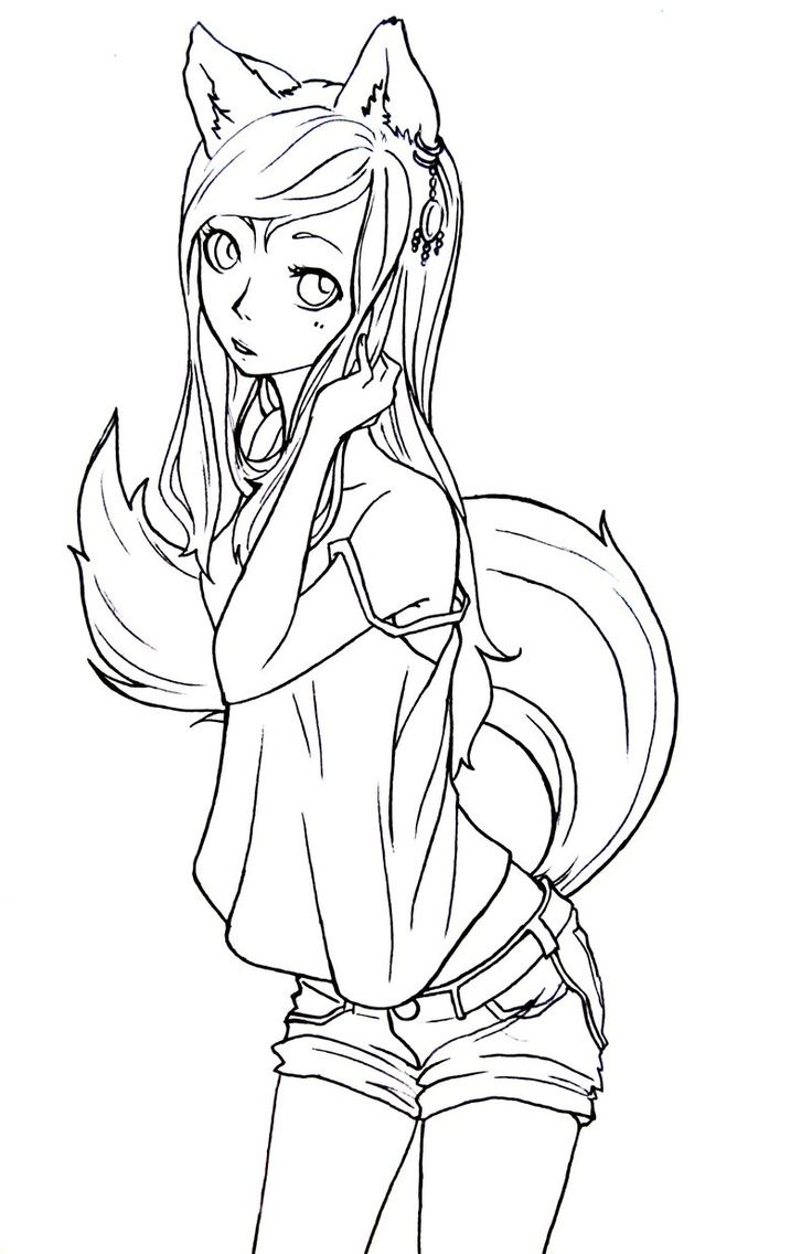 736x1136 Cute Anime Coloring Pages Best Photos Of Fox Chibi Cat