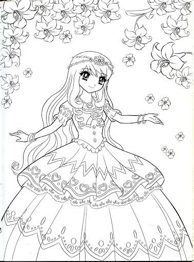 379x512 Motivation Involving Anime Princess Coloring Pages For Girls