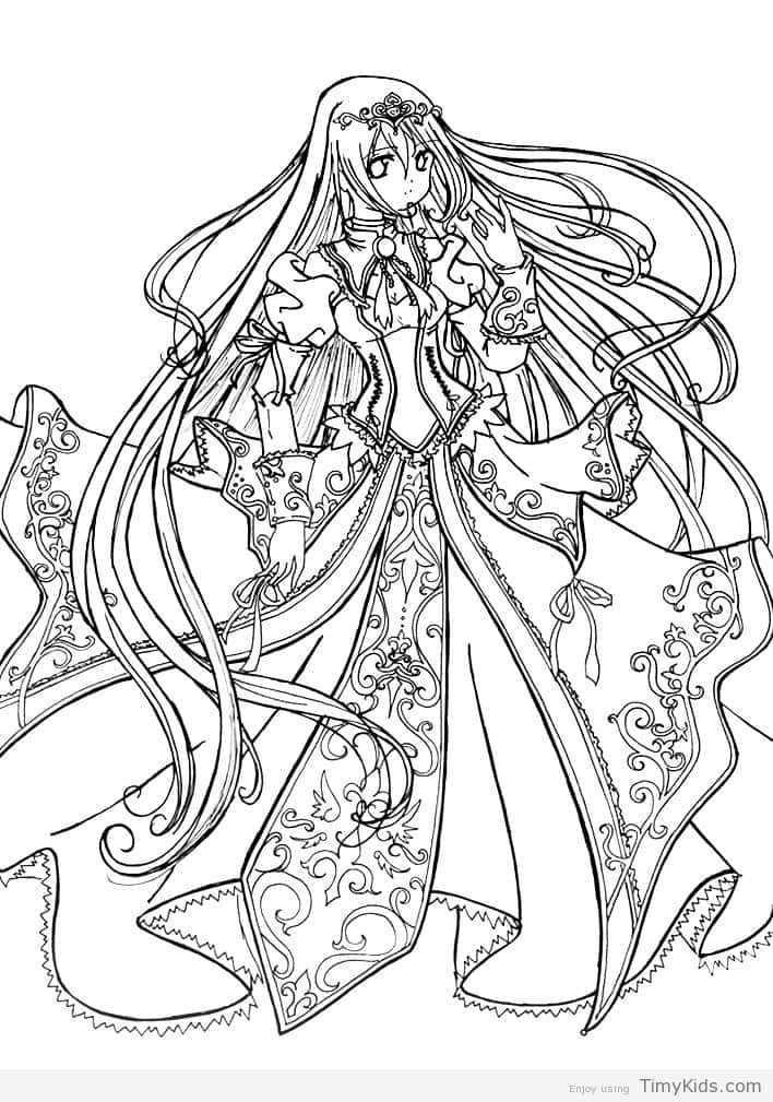 708x1009 Anime Princess Coloring Pages Timykids