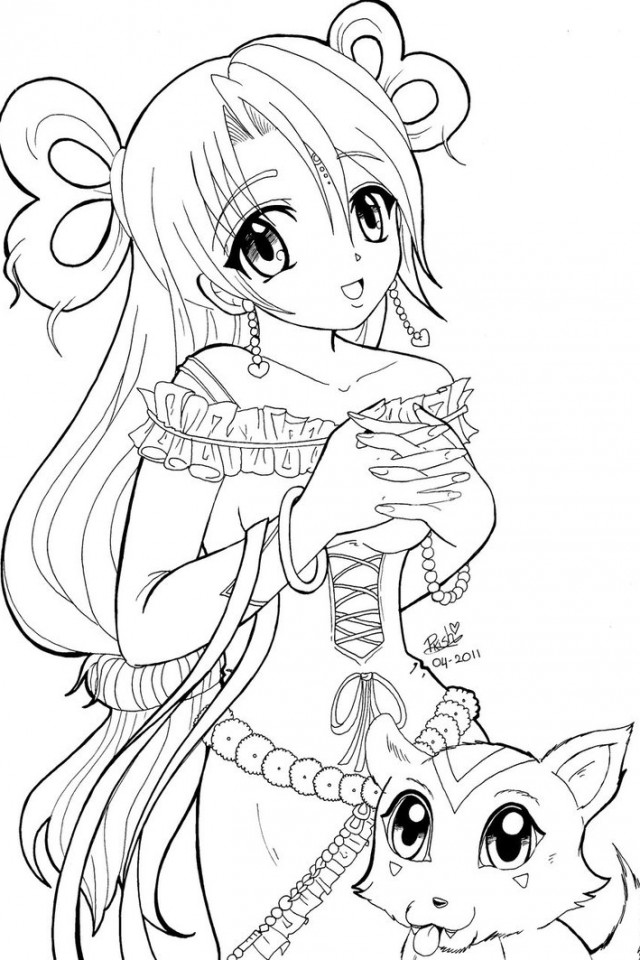 640x960 Anime Princess Coloring Pages