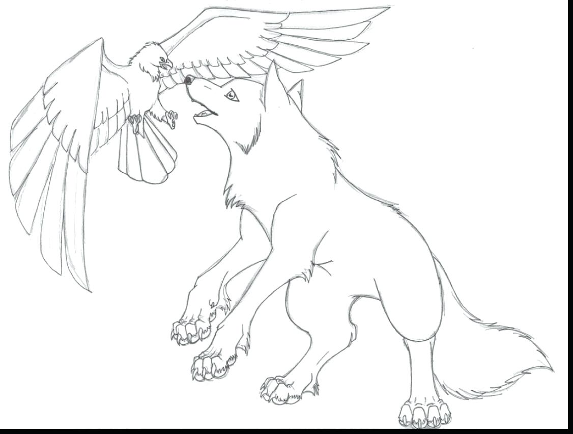1126x852 Cute Wolf Coloring Pages Remarkable Anime With Wings Page And Co