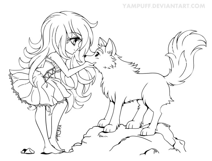 736x560 Bright Design Anime Wolf Coloring Pages Couples Girl Printable