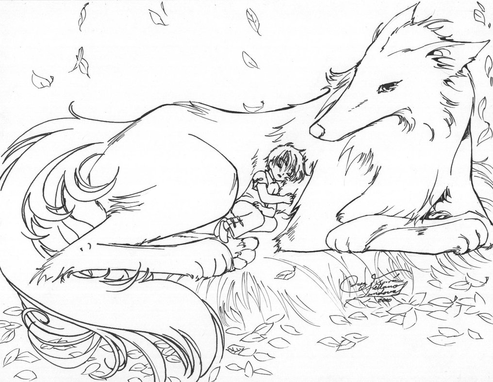 1016x787 Coloring Pages Of Anime Wolves With Wolf