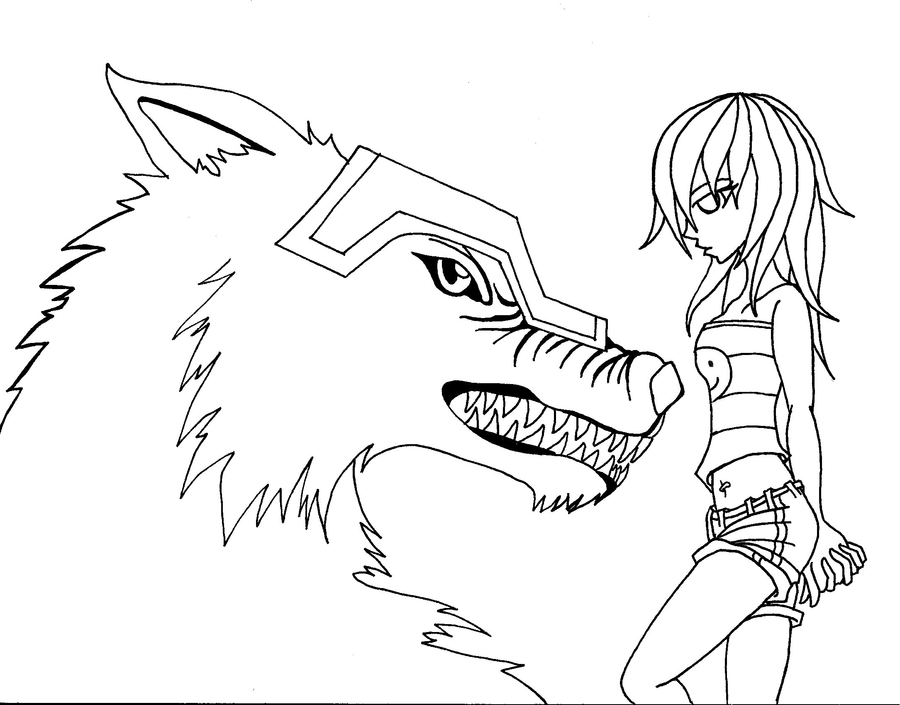 900x705 Anime Wolf Girl Coloring Pages