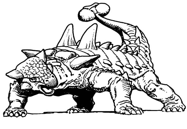 600x414 Ankylosaurus Threat With Club Tail Coloring Page