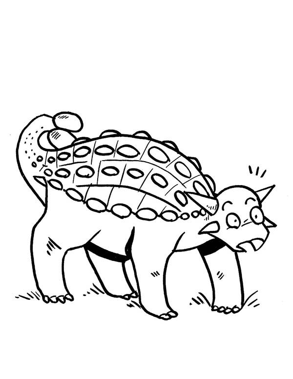 600x776 Ankylosaurus Is Surprised Coloring Page