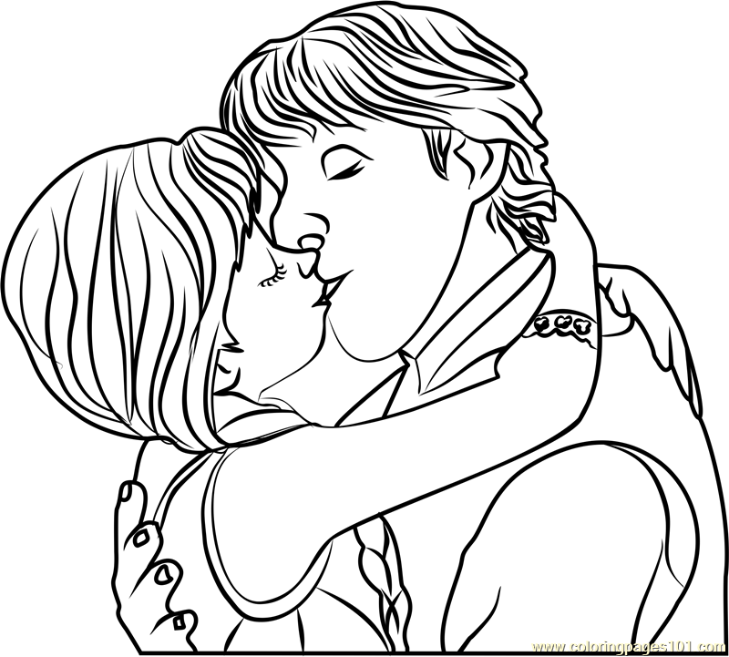 800x721 Kristoff And Anna Kiss Coloring Page