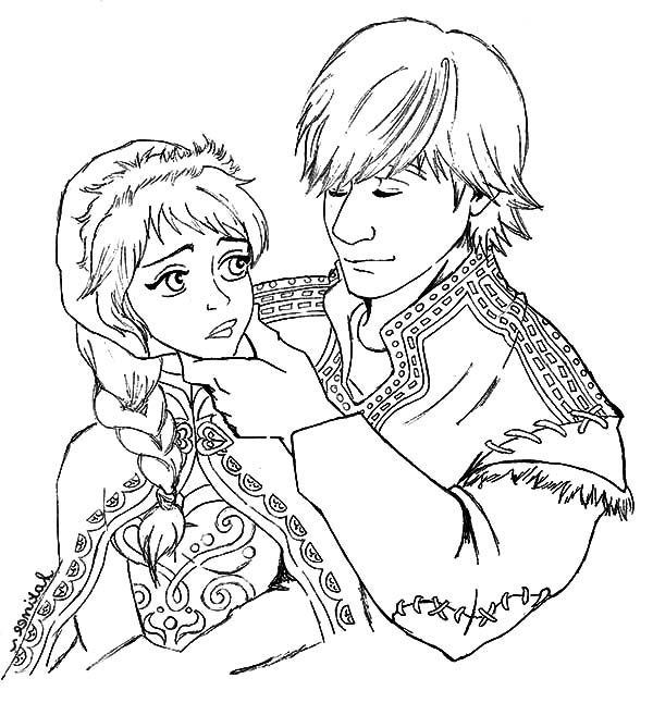 600x646 Kristoff And Princess Anna Lover Couple Coloring Pages