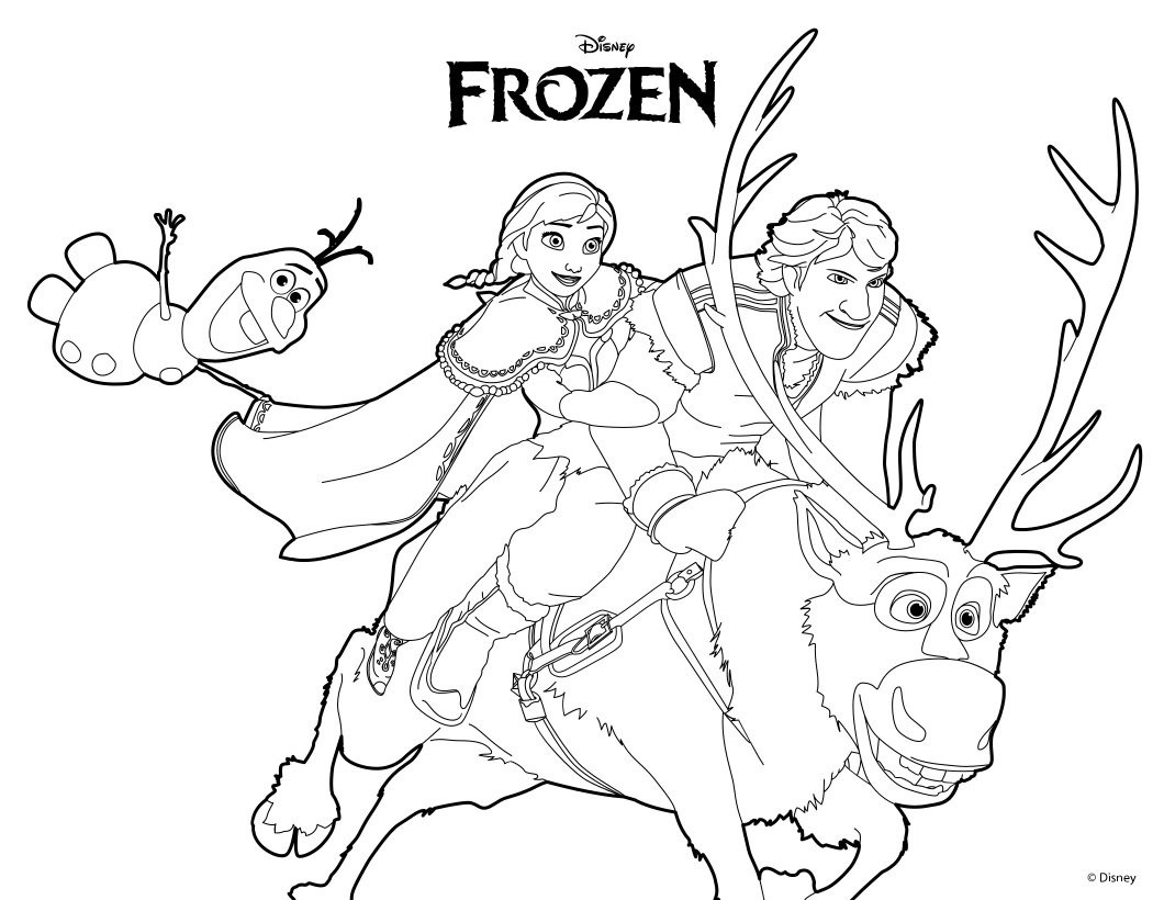 1060x820 Ana Olaf Kristoff Coloring Pages Hellokids Com Endearing