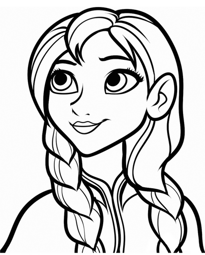 411x512 Printable Frozen Anna Coloring Page