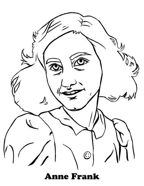 500x647 Anne Frank Coloring Page Coloring Pages Anne Frank