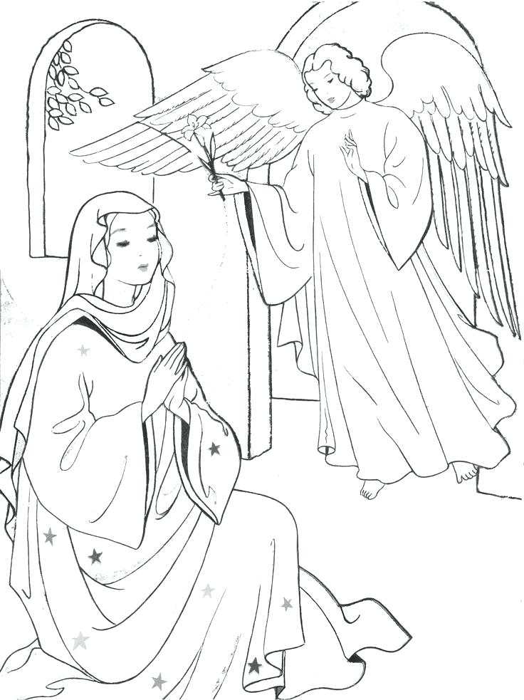 736x983 Hail Mary Coloring Page Annunciation Coloring Page March Mother