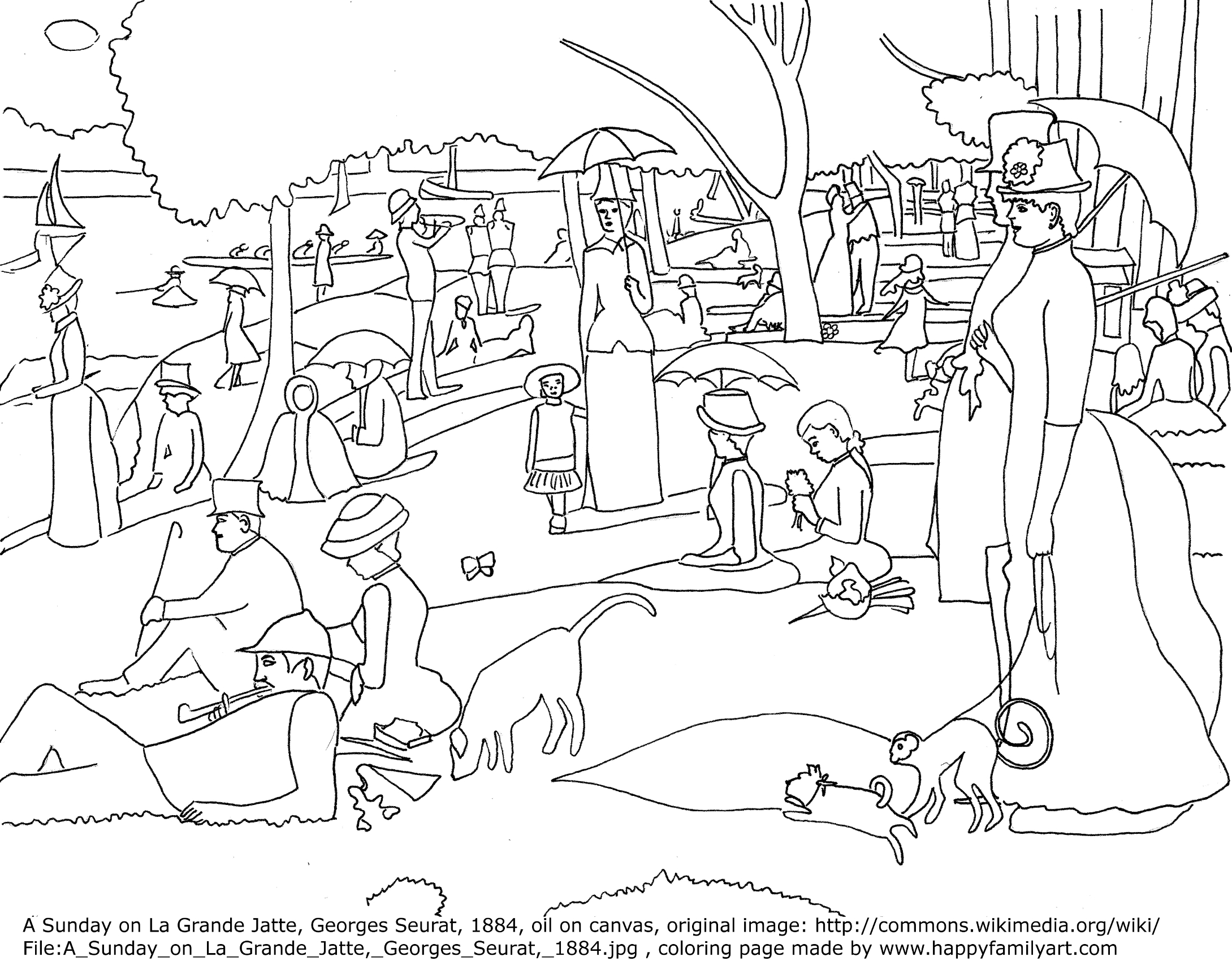 2179x1700 Starry Sky Clipart Afternoon Seurat Coloring Sheets Art Pages Free