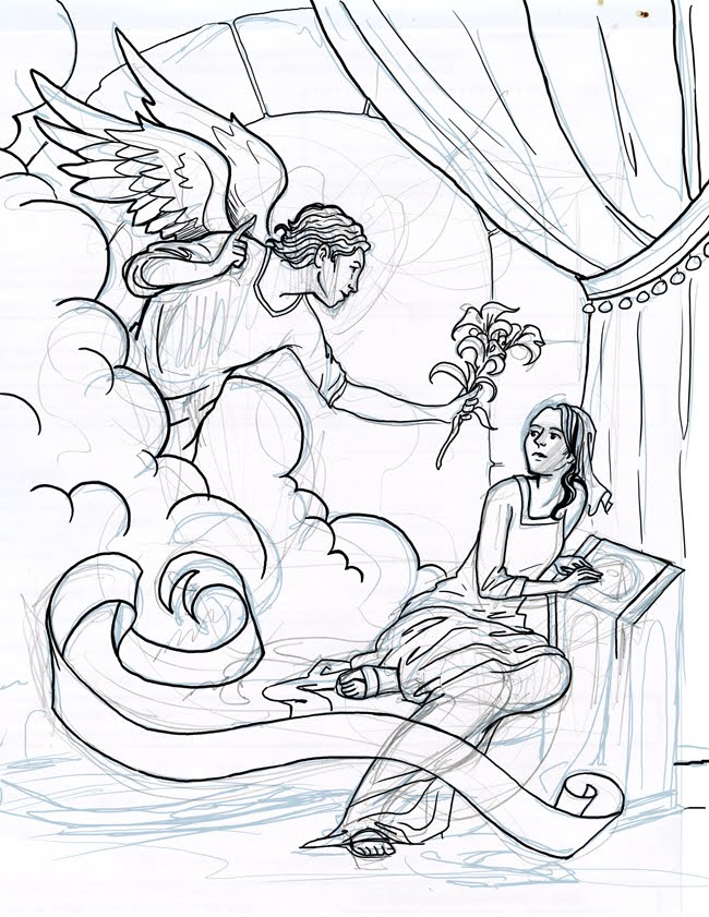650x841 The Catholic Illustrator's Guild Annunciation Coloring Page Roughcut