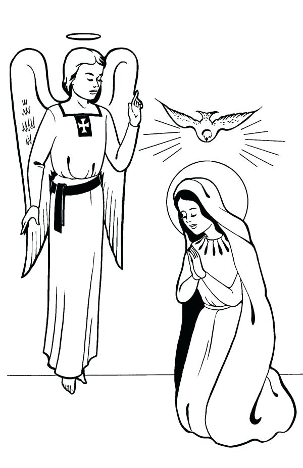 600x926 Angel Gabriel Coloring Page Annunciation With Angel All Saints Day