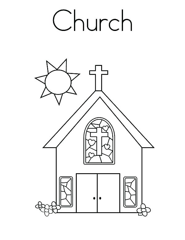 600x776 Building Coloring Page Church Building Coloring Page Image Top
