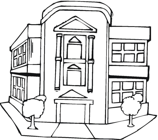 630x556 Buildings Coloring Pages