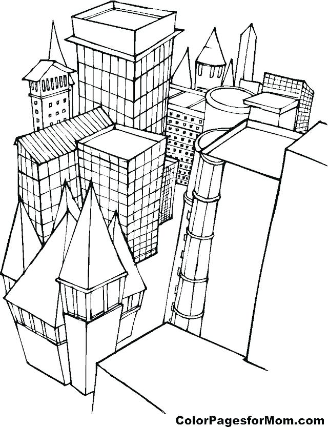 640x833 And Community Building Coloring Pages