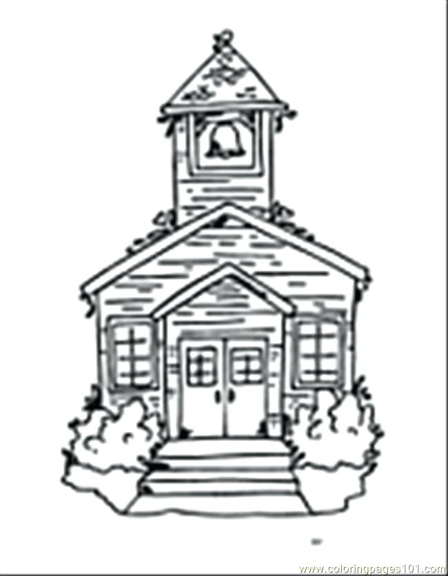 650x836 School Building Coloring Pages To Print Page Free Buildings