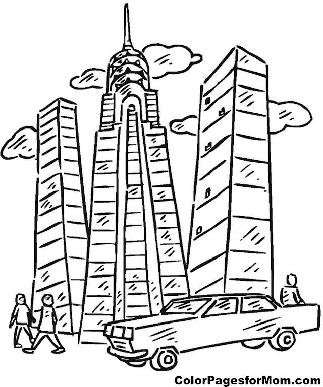 640x768 Skyscraper Coloring Sheets