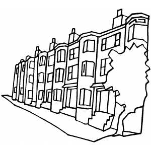 300x300 Apartment Buildings On The Street Coloring Page