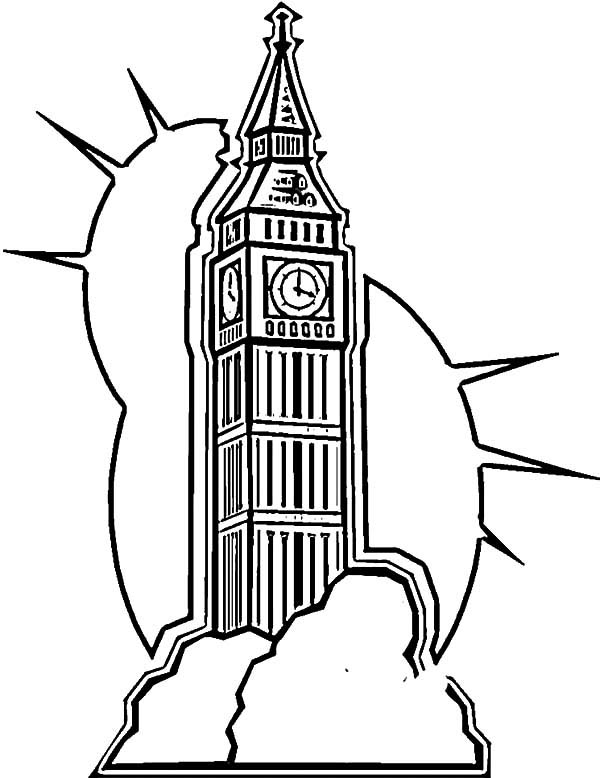 600x778 London Clock Tower Shine Coloring Pages