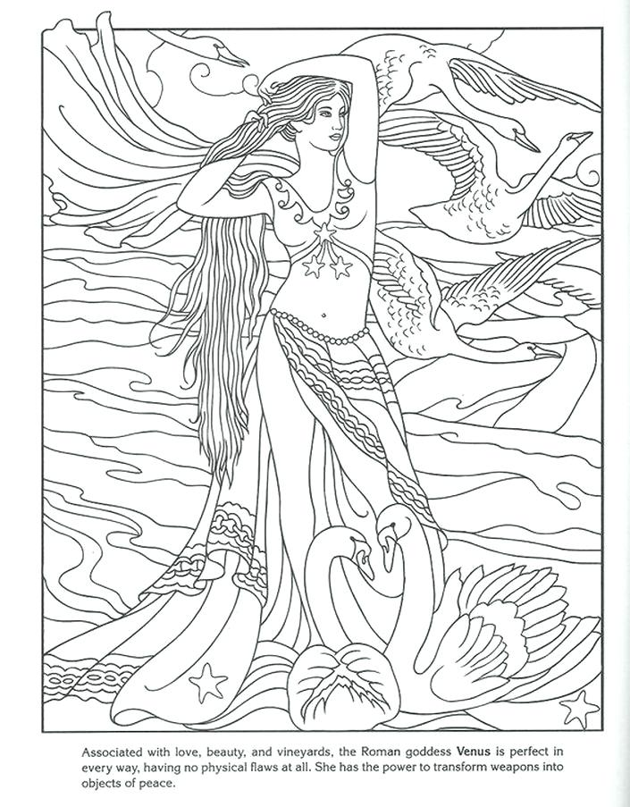 705x903 Aphrodite Coloring Page Beauty Goddess Detailed Coloring Pages