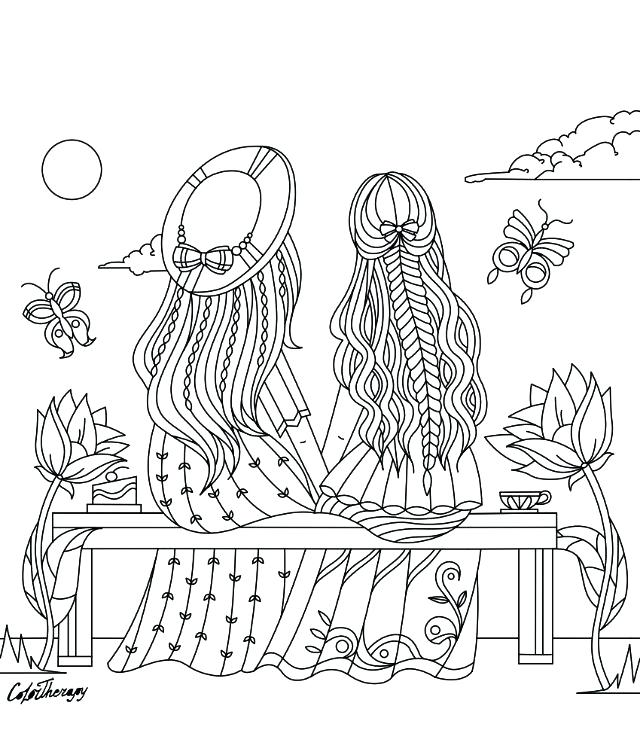 640x739 Coloring Pages App Girls Sitting On A Bench Coloring Page Color