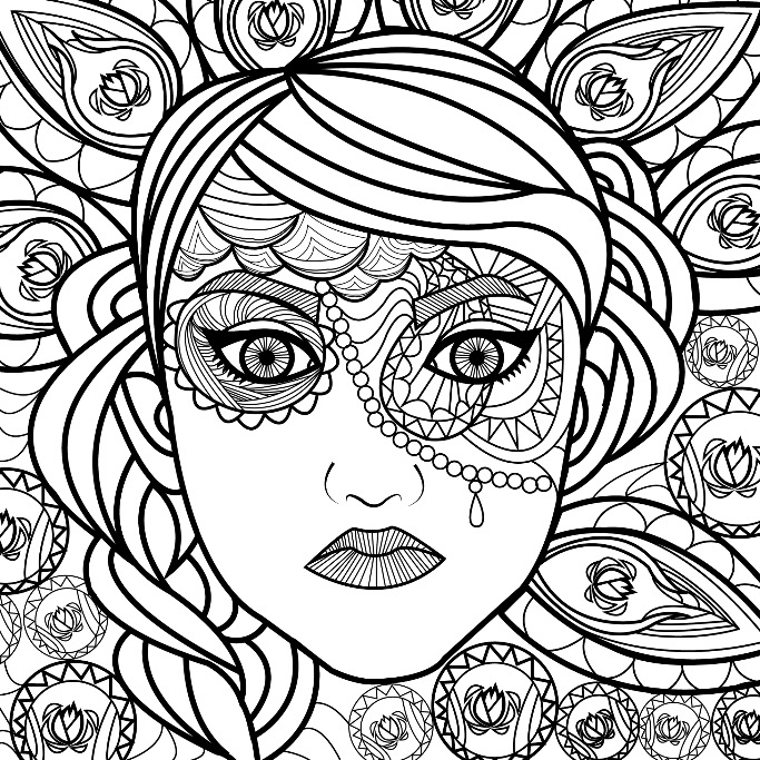 683x683 Lovely Lady Coloring Page For You To Color With Adult Coloring